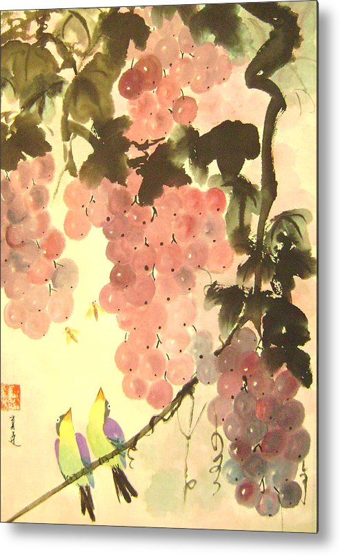 Water Colour Metal Print featuring the painting Pink Romance by Lian Zhen