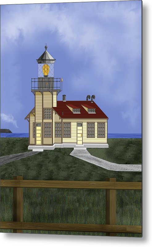Lighthouse Metal Print featuring the painting Point Cabrillo California by Anne Norskog