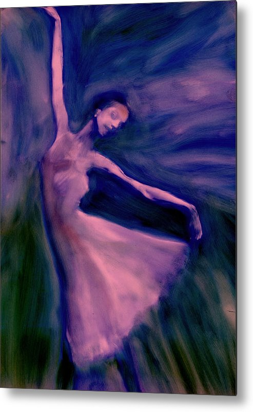 Dancer Ballet Dance Movement Metal Print featuring the painting Study In Blue by FeatherStone Studio Julie A Miller