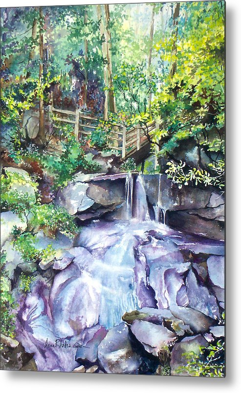 Waterfall Metal Print featuring the painting Tennessee Waterfall by Anne Rhodes