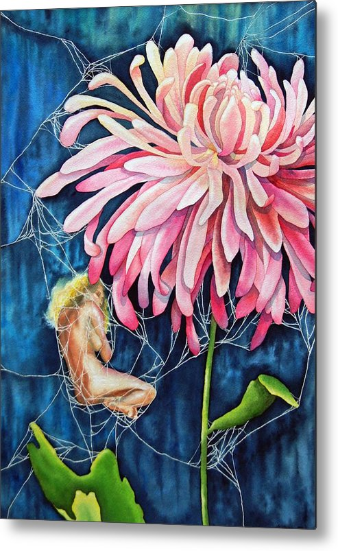 Floral Metal Print featuring the painting The Tender Trap by Gail Zavala