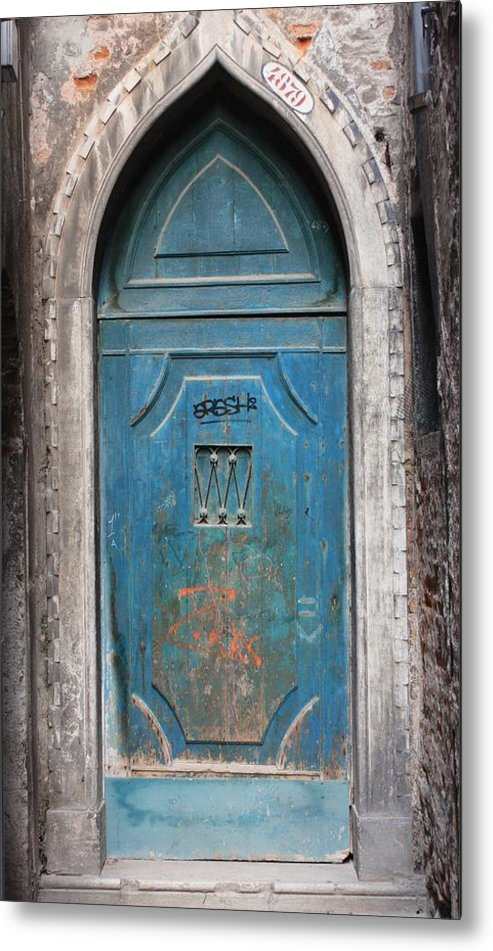 Venice Metal Print featuring the photograph Blue Gothic Door In Venice by Michael Henderson