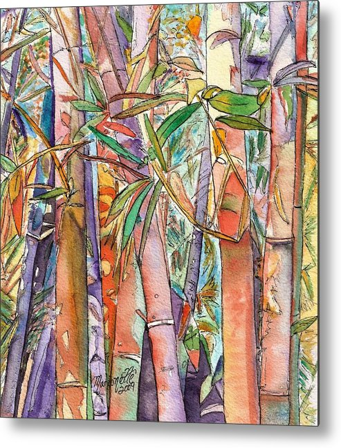 Bamboo Metal Print featuring the painting Autumn Bamboo by Marionette Taboniar