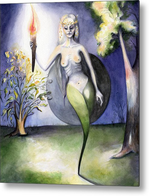 Female Metal Print featuring the painting Awakening Dream by Nadine Dennis