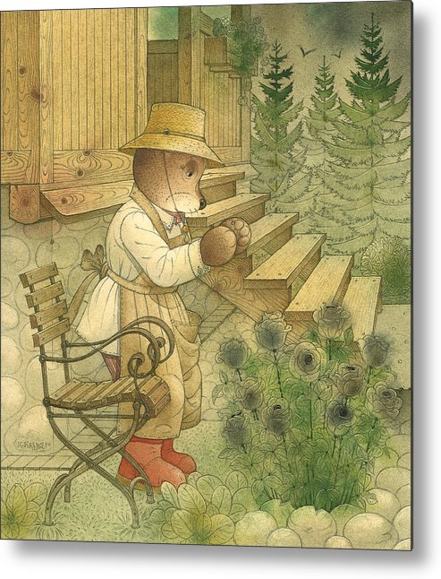 Bears Night Magic Glamour Dark Flowers Roses Metal Print featuring the painting Florentius The Gardener20 by Kestutis Kasparavicius