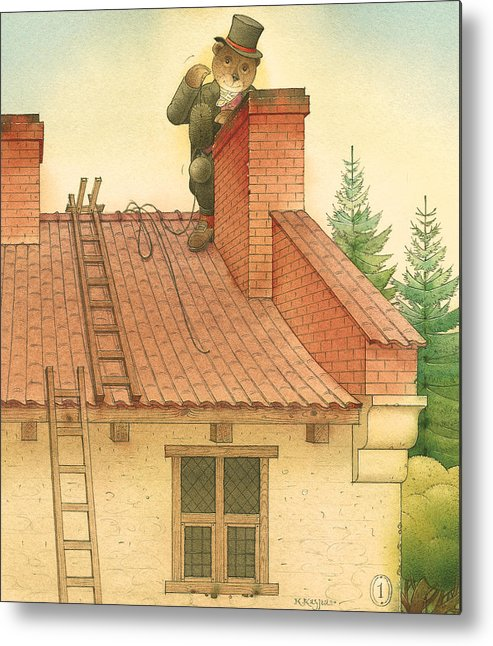 Bears Red Garden Chimney Sweep Metal Print featuring the painting Florentius The Gardener27 by Kestutis Kasparavicius