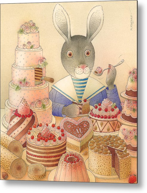 Food Rabbit Animal Rose Delicious Metal Print featuring the painting Rabbit Marcus The Great 01 by Kestutis Kasparavicius