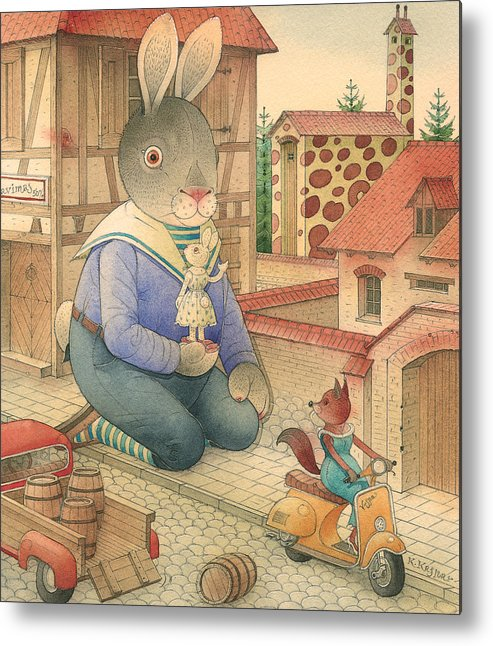 Rabbit Animal Red Love Flirt Town Metal Print featuring the painting Rabbit Marcus The Great 03 by Kestutis Kasparavicius