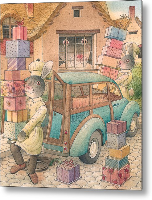 Birthday Rabbit Illustration Delicious Metal Print featuring the painting Rabbit Marcus The Great 13 by Kestutis Kasparavicius