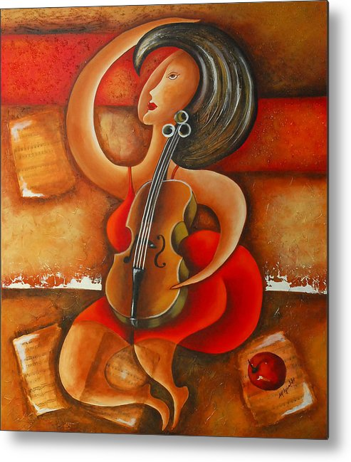 Abstract Expressionism Metal Print featuring the painting A Woman And Her Violin by Marta Giraldo