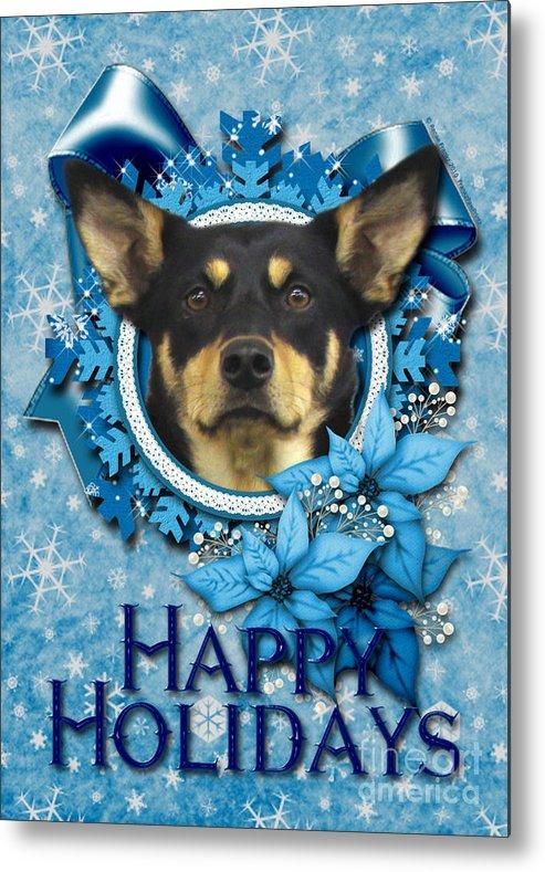 Australian Kelpie Metal Print featuring the digital art Christmas - Blue Snowflakes Australian Kelpie by Renae Laughner