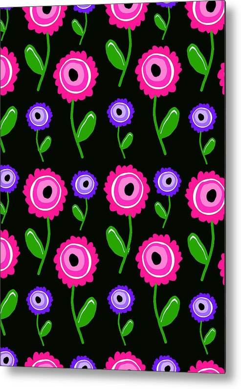 Young Florals (digital) By Louisa Knight (contemporary Artist) Metal Print featuring the digital art Young Florals by Louisa Knight