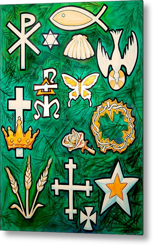 Chrismons Metal Print featuring the painting Chrismons by Kevin Middleton
