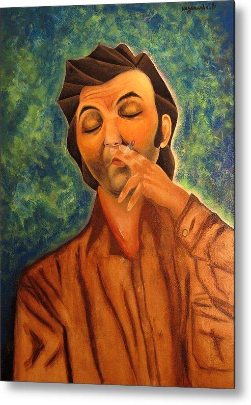 Portrait Metal Print featuring the painting Portrait Of A Man by Vladimir Kezerashvili