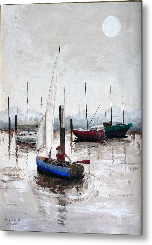 Blue Sailboat Metal Print featuring the painting Boy In Blue Sailboat by Dan Bozich