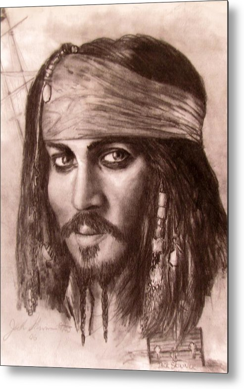 Pirate Metal Print featuring the drawing Capt.jack by Jack Skinner