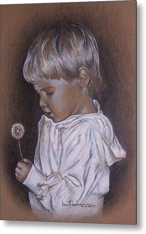 Portrait Metal Print featuring the painting Childhood Wonder by Anne Rhodes