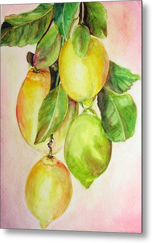 Still Life Metal Print featuring the painting Citrons by Muriel Dolemieux