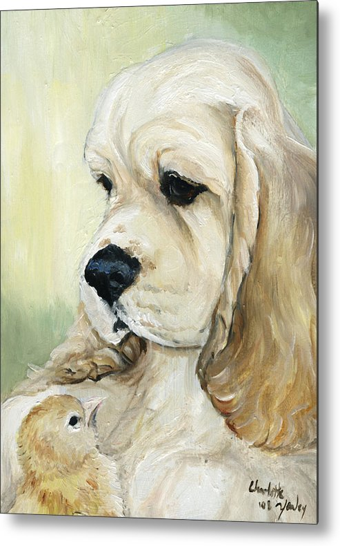 Dog Metal Print featuring the painting Cocker Spaniel And Chick by Charlotte Yealey