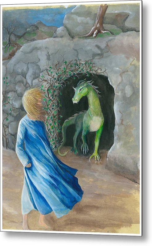 Dragon Metal Print featuring the painting Dragon Princess 1 by Sally Balfany