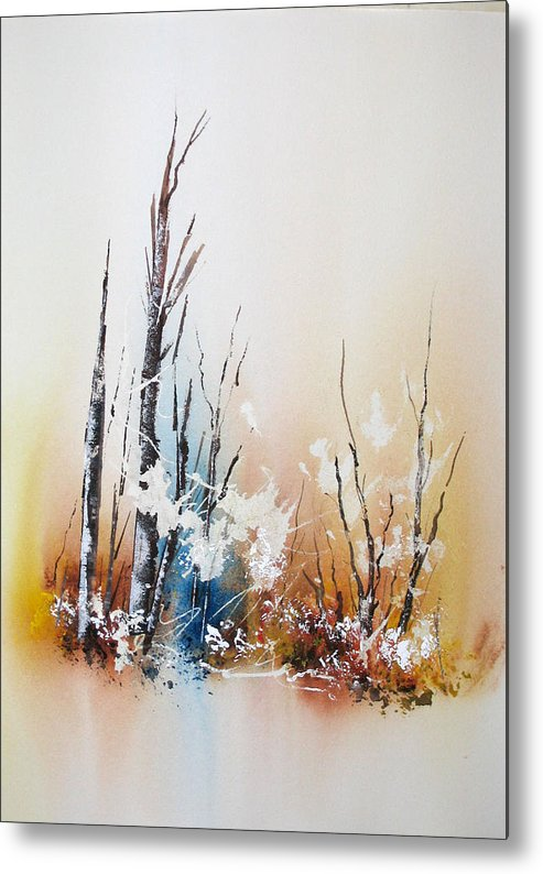 Snowy Scene Metal Print featuring the painting Early Winter by Lynne Parker