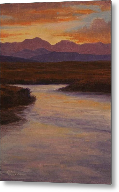 Landscape High Sierras Metal Print featuring the painting Evening Calm by Joe Mancuso