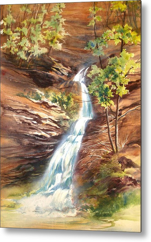 Water Falls;rocks;trees;hocking Hills;watercolor Painting; Metal Print featuring the painting Falls At Hocking Hills by Lois Mountz