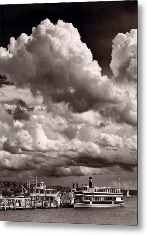 Lake Metal Print featuring the photograph Gathering Clouds Over Lake Geneva Bw by Steve Gadomski