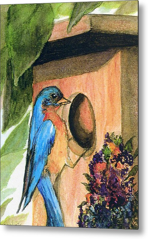 Bluebirds Metal Print featuring the painting Home Sweet Home by Gail Kirtz