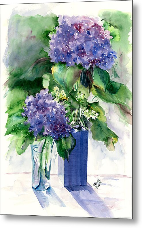 Flower Metal Print featuring the painting Hydrangeas In Vases by Priscilla Powers