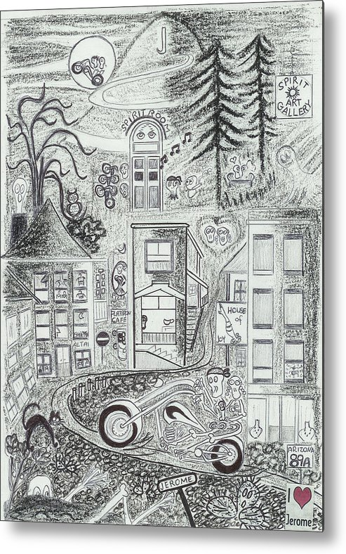 Riding Fun Metal Print featuring the drawing I Love Jerome Az by Ingrid Szabo