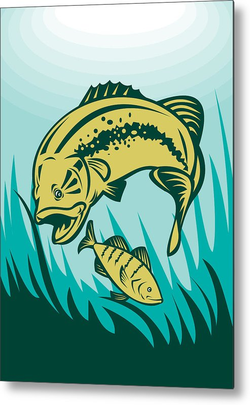 Largemouth Metal Print featuring the digital art Largemouth Bass Preying On Perch Fish by Aloysius Patrimonio