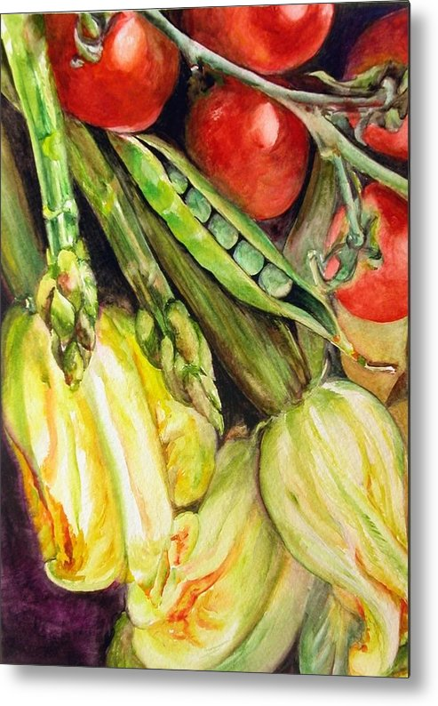 Still Life Metal Print featuring the painting Legumes by Muriel Dolemieux