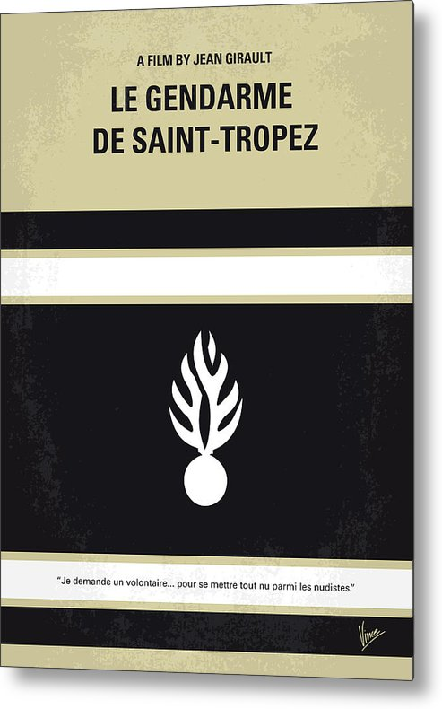 Le Metal Print featuring the digital art No186 My Le Gendarme De Saint-tropez Minimal Movie Poster by Chungkong Art