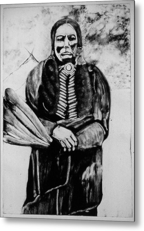 Western Art Metal Print featuring the drawing On Kiowa Reservation by Dan RiiS Grife