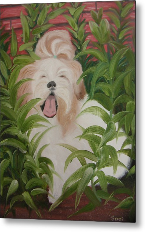 Dog Metal Print featuring the painting Pflower Nap by Sodi Griffin