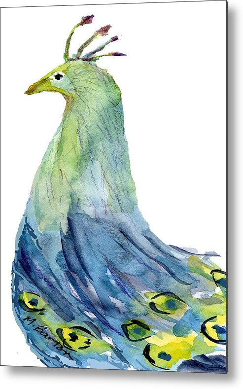 Peacock Metal Print featuring the painting Pretty Peacock by Marilyn Barton