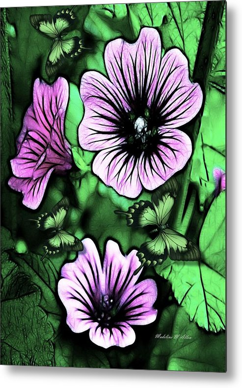 Smudgeart Metal Print featuring the mixed media Purple Mulva by Madeline Allen - SmudgeArt