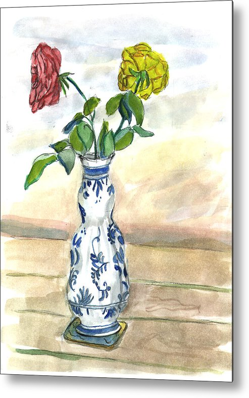 Kevin Callahan Metal Print featuring the painting Red Rose Yellow Rose by Kevin Callahan