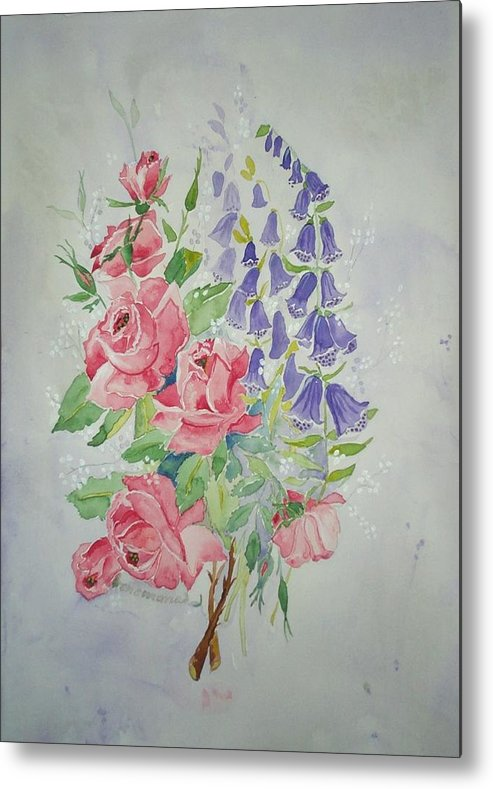 Roses Flowers Metal Print featuring the painting Roses And Digitalis by Irenemaria Amoroso