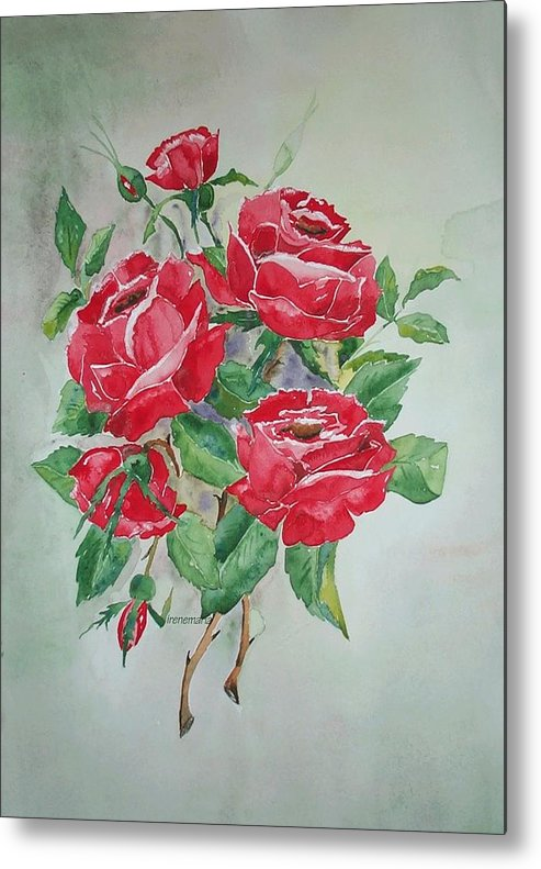 Roses Flowers Metal Print featuring the painting Roses by Irenemaria Amoroso