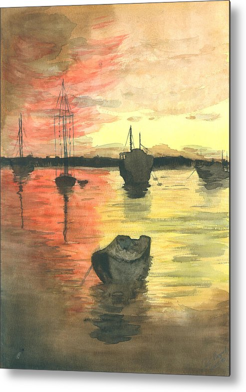 Sunset Cloudy Sky Metal Print featuring the painting Sunset Lagoon by Dan Bozich