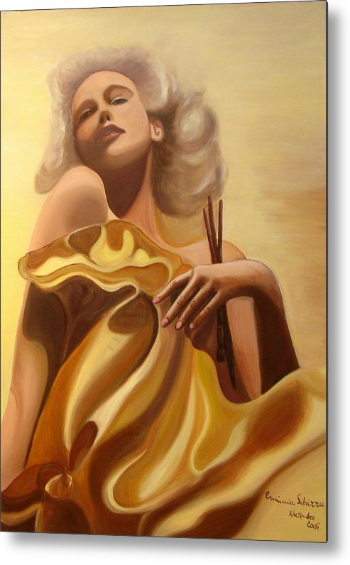 Figurative Metal Print featuring the painting The Beauty And The Elegance by Erminia Schirru