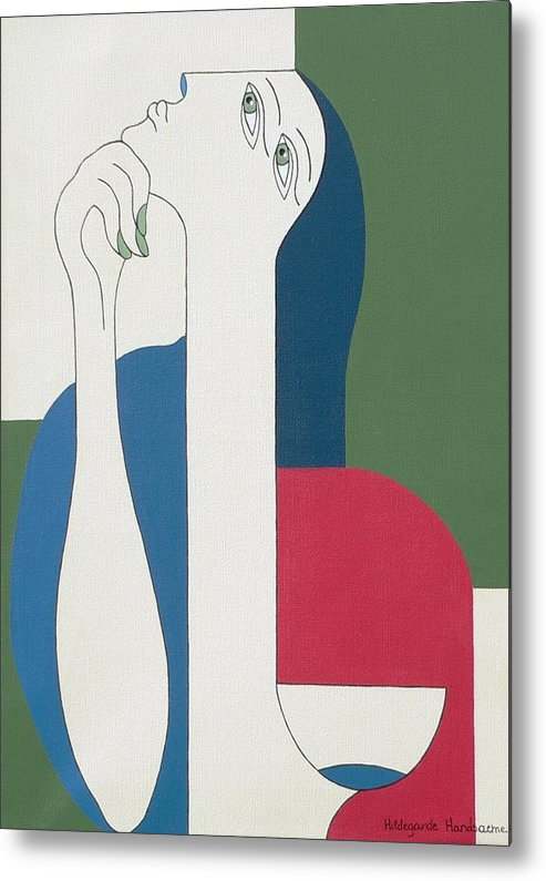 Modern Special Women Bleu Red Green Metal Print featuring the painting Thinking by Hildegarde Handsaeme