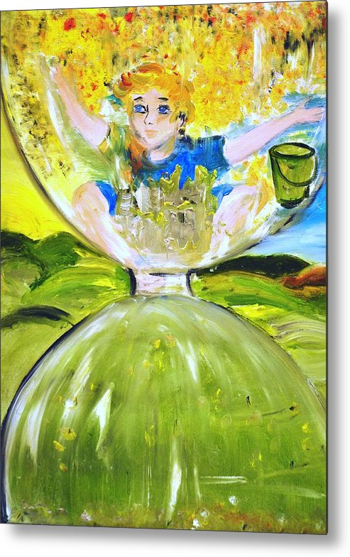 Hourglass Metal Print featuring the painting Time Out by Evelina Popilian