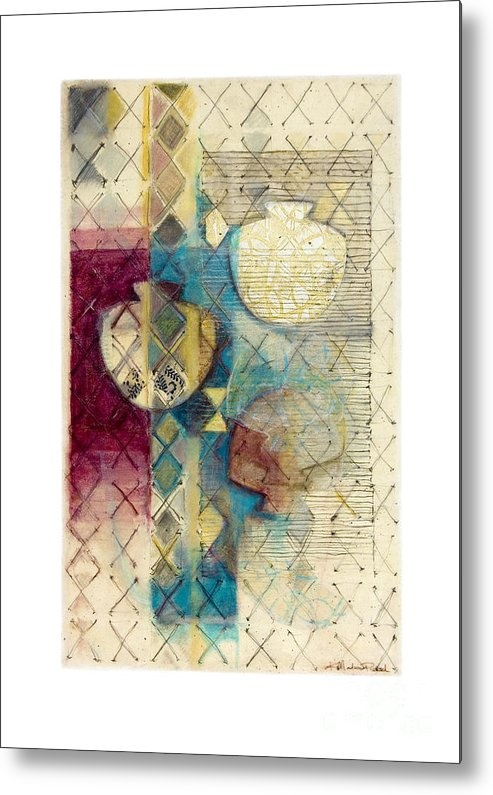 Mixed-media Metal Print featuring the painting Trans Xs No 1 by Kerryn Madsen- Pietsch