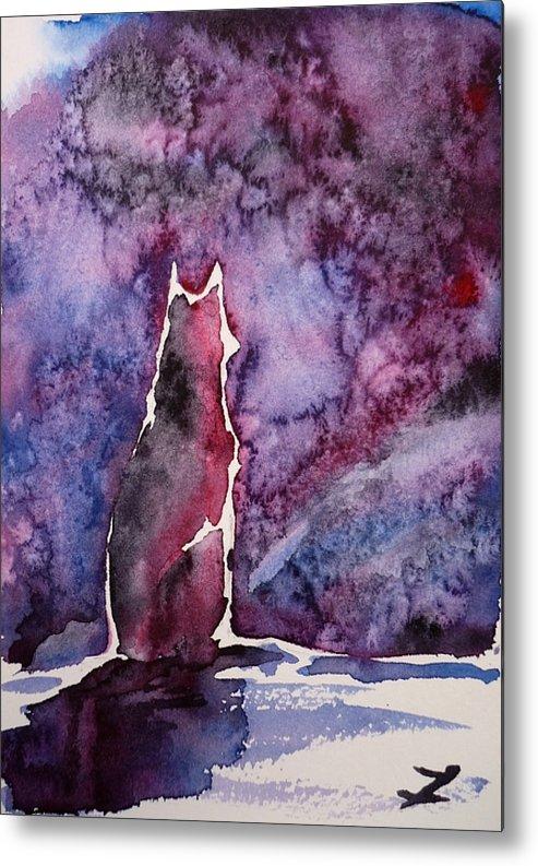 Dog Metal Print featuring the painting Waiting by Zaira Dzhaubaeva