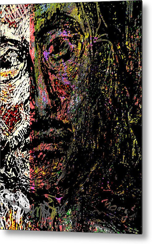 Self Portrait Metal Print featuring the painting Warrior Of Love by Noredin Morgan