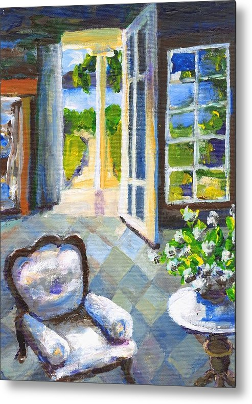 Nantucket Metal Print featuring the painting White Chair Nantucket by Randy Sprout