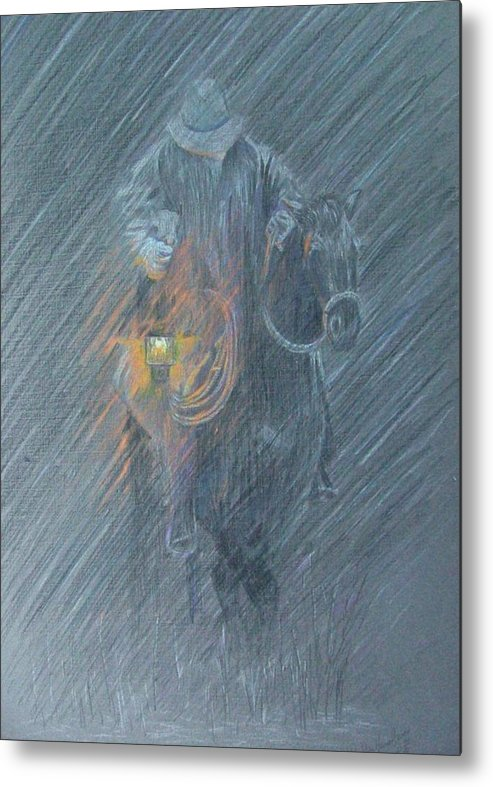Horses Metal Print featuring the drawing Winter Search by Dan Hausel